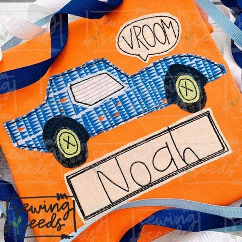 Race Car VROOM Applique SS - Sewing Seeds