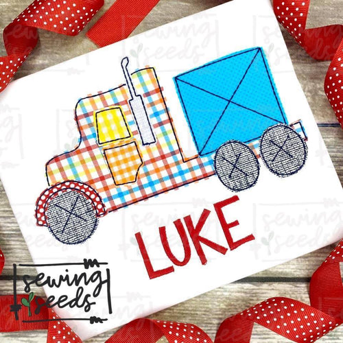 Semi Truck Applique SS - Sewing Seeds