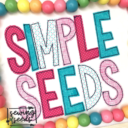 Simple Seeds Applique Font SS - Sewing Seeds