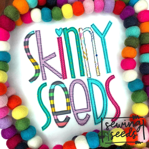 Skinny Seeds Applique Font - Sewing Seeds