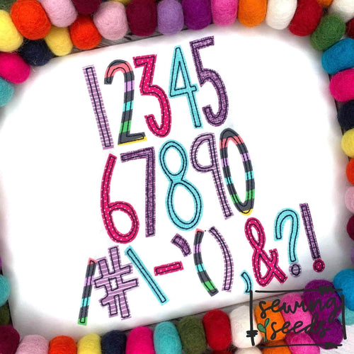 Skinny Seeds Number & Punctuation Add-on Set Applique SS - Sewing Seeds