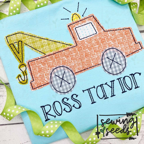 Tow Truck Applique SS - Sewing Seeds