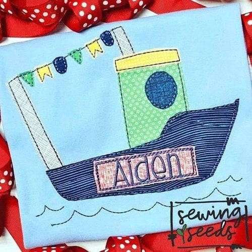 Tug Boat Applique SS - Sewing Seeds
