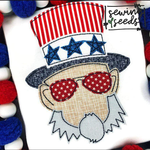 Uncle Sam Patriotic Applique SS - Sewing Seeds