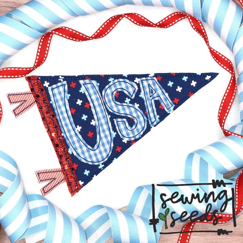 USA Banner Applique SS - Sewing Seeds