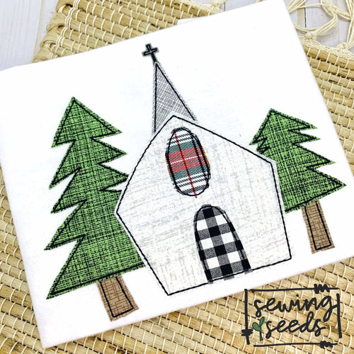 Winter Church Applique SS - Sewing Seeds