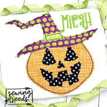 Load image into Gallery viewer, Witch o Lantern Pumpkin Applique SS - Sewing Seeds