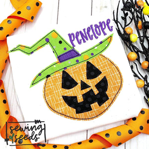 Witch o Lantern Pumpkin Applique SS - Sewing Seeds