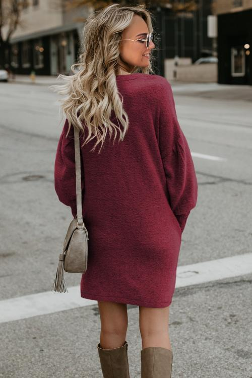 Red Autumn Winter Long Lantern Sleeve Knitted Sweater Dress