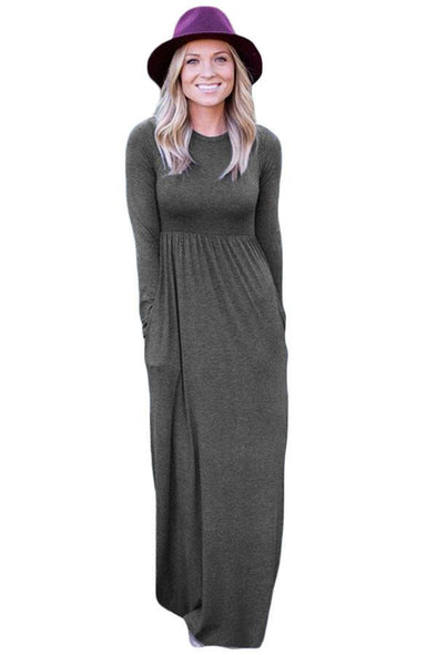 Charcoal Long Sleeve High Waist Maxi Jersey Dress