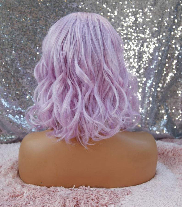 Lilac Curly Short Wig, Heat Safe, Cotton Candy Pink, Pink Wig, Natural Wig, Wigs for Women