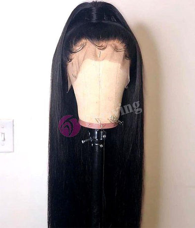 High quality lace front wig black long wig natural hairline87