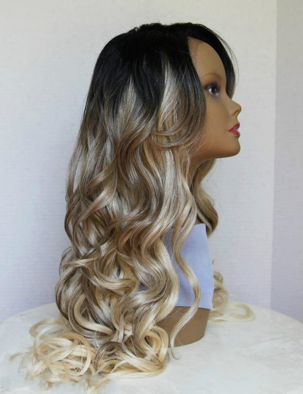 Long Ombre Lace Front wig, Dark Roots, Heat safe, Wavy/Curly hair, Ashy Blonde