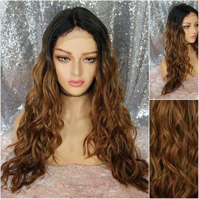 Curly Brunette Lace Front Wig, Dark Roots, Heat Resistant Wig, Natural Wig, Long Wig, Cosplay