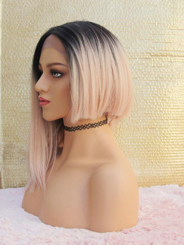 Pink Unbalanced Lace Front Wig, Chic Pink Wig, Rock Punk Look, Heat Safe, For Everyday Use and Cosplay