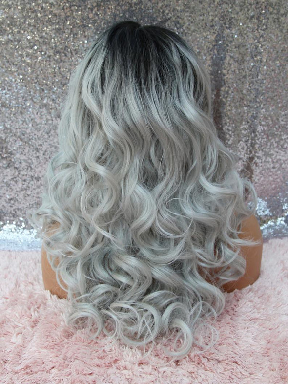 Platinum Grey Lace Front Wig, Curly Hair, Dark Roots, Heat Safe, Wigs for Women, Natural Wig, Medical Wig