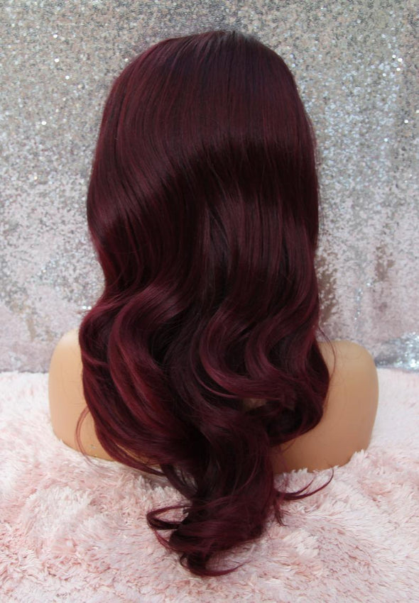 Burgundy Wavy Lace Front Wig, Silk Lace, Heat Safe, Natural, Deep Burgundy Red, Cosplay