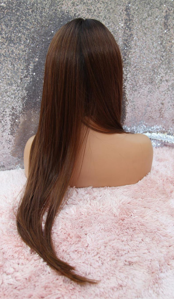 Long Brunette Lace Front Wig, Baby hair wig, Rotating part, Heat Safe, Natural, Chemo