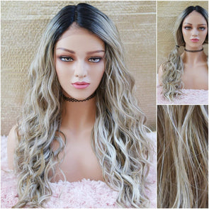 Lace Front Wig - Champagne Blonde Beach Waves - Silk Lace Wig - Dark Roots with Baby Hairs - Wavy Long Wig - Heat Safe Wig