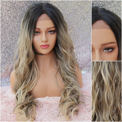 Sandy Blonde Lace Front Wig, Dirty Blonde, Champagne Blonde, Heat Resistant, Middle Part