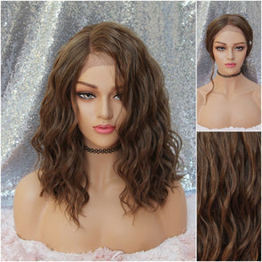 Dark Brown/ Brunette Lace front Wig, Loose Waves, Beach Curls, HEAT SAFE, natural wig for everyday use, cosplay