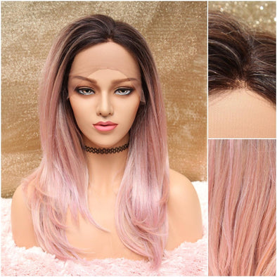Pink Lace Front Wig, Light Pink Silk Swiss Straight Heat Safe Wig, Large Silk Base Lace for Natural Parting