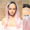Pink Swiss Lace Front Wig, Cotton Candy Wigs, Dark Roots, Long Wavy Wig, Cosplay Hipster Wig, Heat Safe, Natural