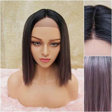 Purple Straight Silk Swiss Lace Front Wig, Pastel Purple, Short and Straight Pink Heat Safe Wig, Natural Middle Part