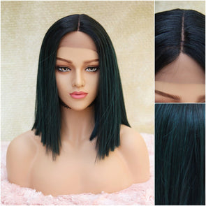 Dark green Silk Swiss Lace Front Wig, Short Dark Green Heat Safe Natural Parting, for Everyday and Cosplay