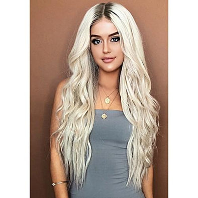 Ombre Wavy Long Silver Grey Wigs Silky Strands Gray Cosplay Women Wedding Blond Wigs Synthetic Hair