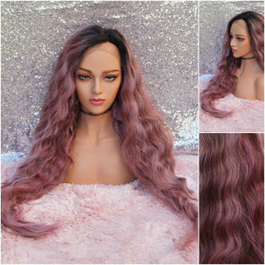 Long Loose Wave Lace front Wig, Dark Pink, Dried Roses, Heat Resistant Wig, Cosplay