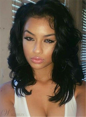 Black Wave Lace Front Wigs 12 Inch Frontal