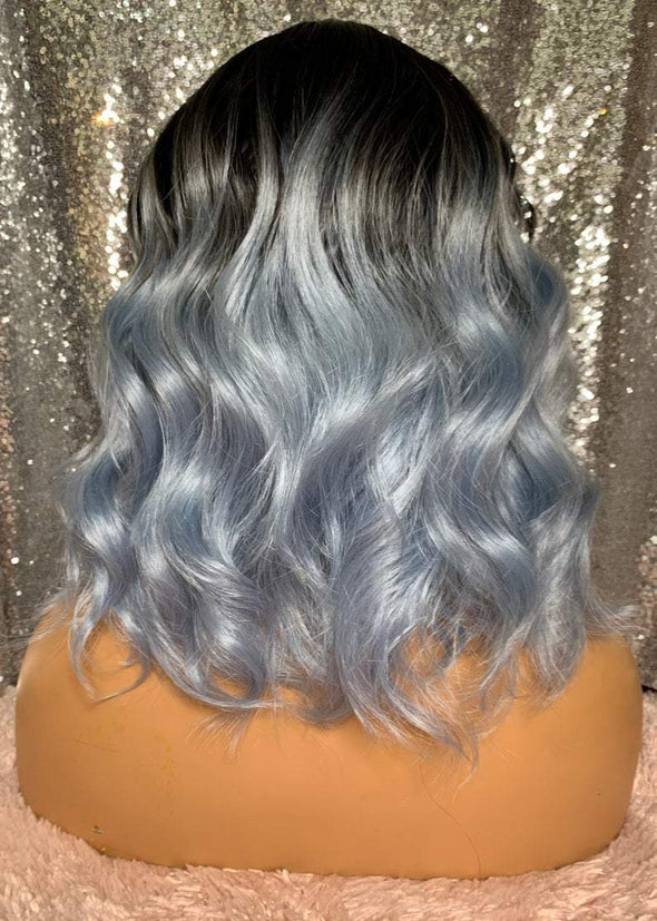 Blue Wavy Wig with Bangs, Wavt Wig, Blue Curly Wig, Heat Resistant wig, Medical Wig, Cosplay wig