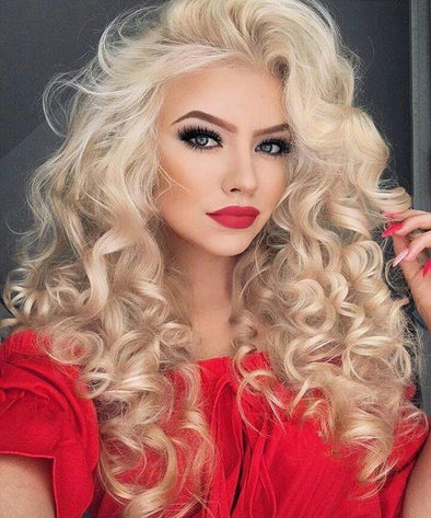 Lace Front WigDeep Wave Blonde Wig Long Hair Brazilian remy Long hair color 613 blonde human hair