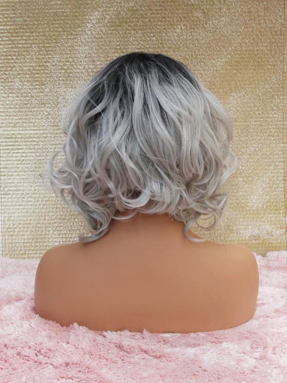 Silvery Grey Silk Swiss Lace Front Wig, Short Light Pink Heat Safe Natural Parting, for Everyday and Cosplay