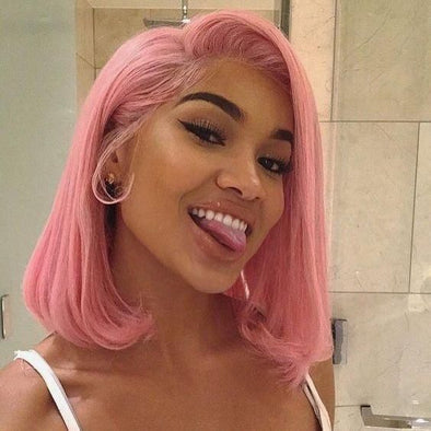 Lace Frontal Wigs Pink Hair 1B Pink Ombre Hair For Girl