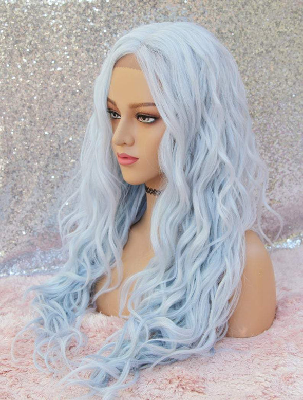 Blue Lace Front Wig, Beach Waves, Cotton Candy Blue, Heat Resistant, Middle Part, Natural Wig, Cosplay Wig