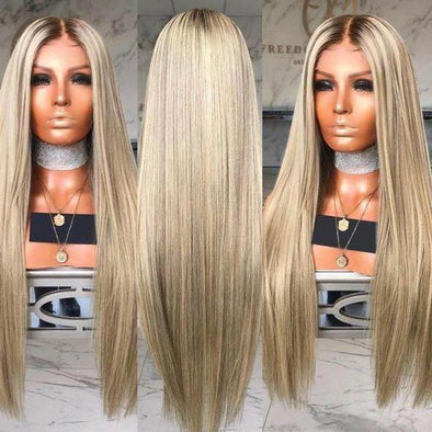 Ombre Blonde Synthetic Lace Front Wig For Women Side Part Long Silky Straight Wig Half Hand Tied