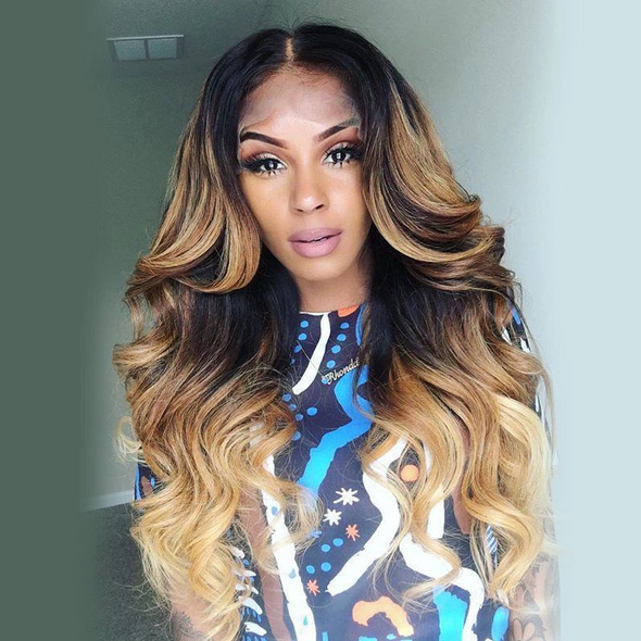 Long Wave Brown Gradient Champagne Dark Roots Wig