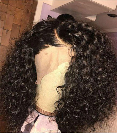 High quality lace front wig black wave wig natural hairline