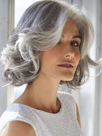 Gray Wigs Lace Frontal Wigs Gray Synthetic WigsGray Highlights