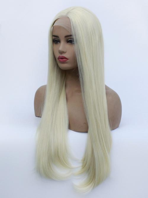 Lace Front Blonde Wig Heat Resistant Hair Ombre Synthetic Straight Wig Brown Root Side Part Long Wig For Women