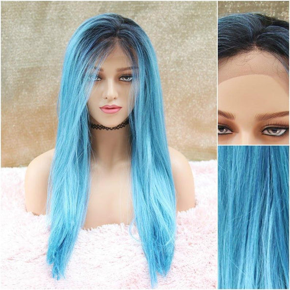 Long Blue Straight Lace Front Wig, Heat Resistant Wig, Long Ombre Deep Roots