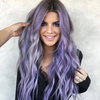Long Wave Dark Roots Purple Wig