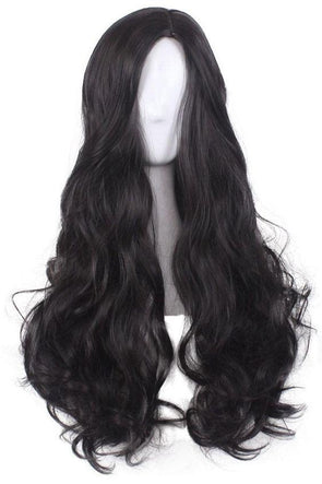High quality lace front wig black long wave wig natural hairline86