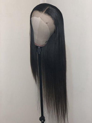 High quality lace front wig black long straight wig natural hairline85