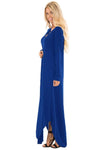 Blue Y Strap Neckline Relaxed Long Jersey Dress