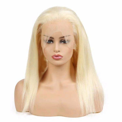Lace wig Long Hair Straight Blonde Wig Costume Halloween Carnival White Women Lady Hair As Picture