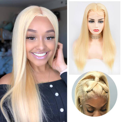 Long Hair Straight Blonde Wig Costume Lace wig Halloween Carnival White Women Lady Hair As Picture