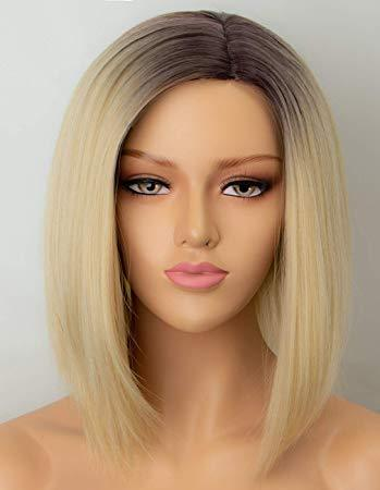 Lace Front Wig Blonde Wig Blonde Short Straight Heat Resistant Hair Wig For Black/White Women Cosplay Or Party Bob Wigs